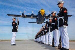 US Marines in ceremonial uniforms.