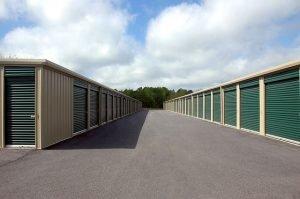 A row of storage units.