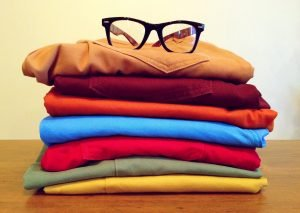 Clothes in different colors and glasses need to be dry to prevent moisture in your storage unit