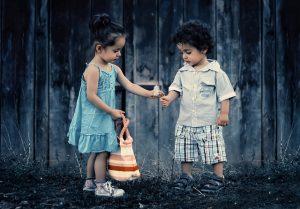 Little girl and a little boy