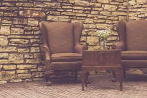 Antique table and two chairs