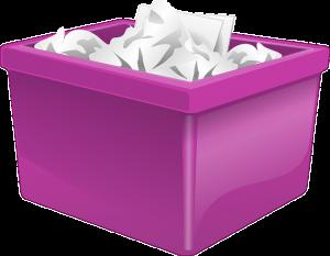 Pink plastic bins vs cardboard boxes