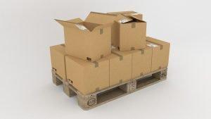 Plastic bins vs cardboard boxes on a pallet