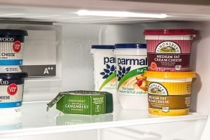 Food products in fridge