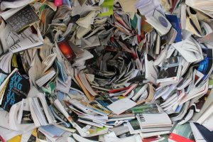 A huge pile of books - decluttering your storage unit