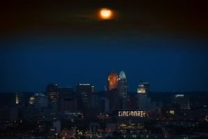 Cincinnati skyline at night is one of the top rising cities for startups in Ohio