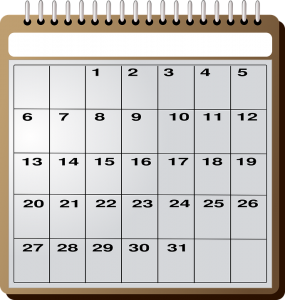 Calendar representing the time you can use to research the moving company before negotiating a moving package
