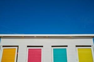 Colorful storage unit doors