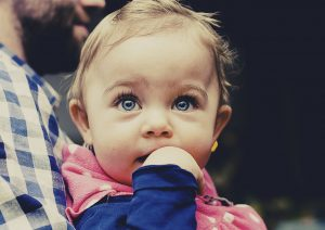 Baby with large blue eyes