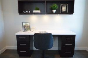 A desk and a shelf