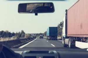 Long-distance moving trucks on highway