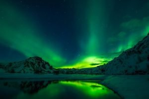 Night moving in winter, with Aurora borealis in the sky