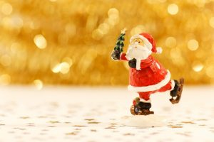 A figurine of Santa with which to decorate your home for Christmas.