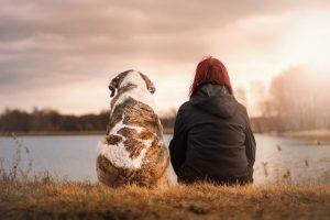 Dog and woman on a lake