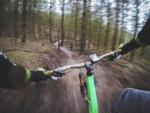 A man mountain biking