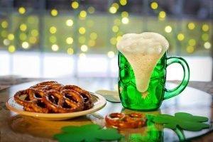 Green beer mug and pretzels