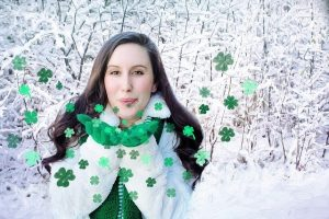 St Patrick's Day events in Columbus - Girl blowing clovers in the wind