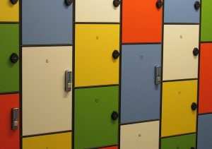 colorful lockers with numbers on them are useful when organizing a storage unit