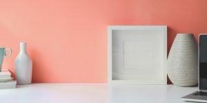 Pink wall and white decorum
