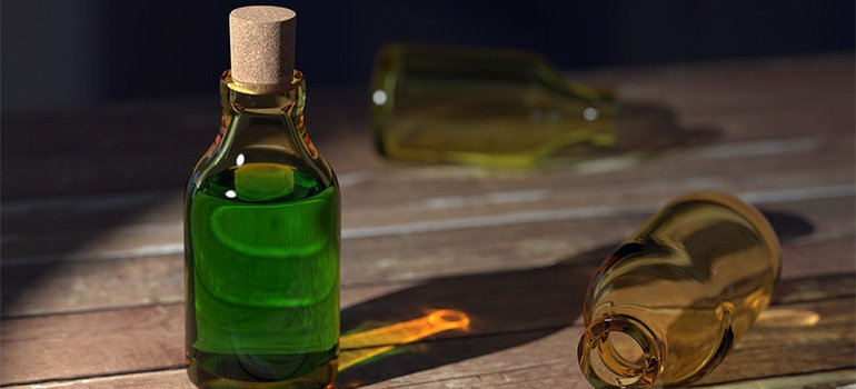 Bottles with green substance