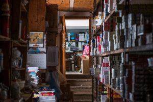 overcrowded shelves