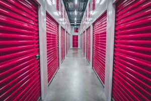 red doors on storage units