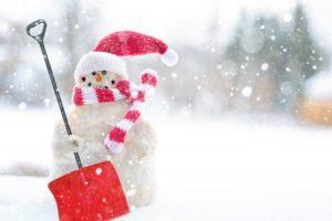 snowman holding shovel