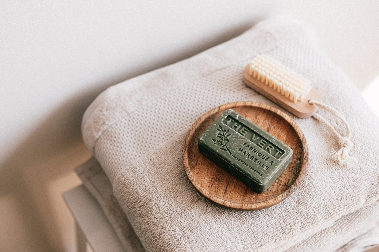 Bar of soap on a towel.