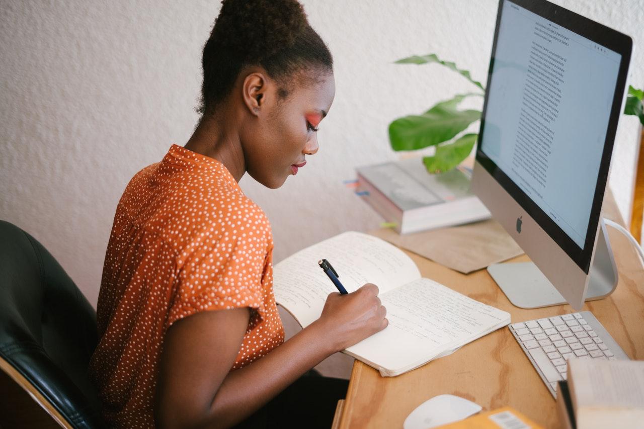 A woman making a plan.
