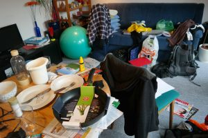 clutter, mess in the room