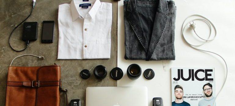 personal belongings neatly arranged