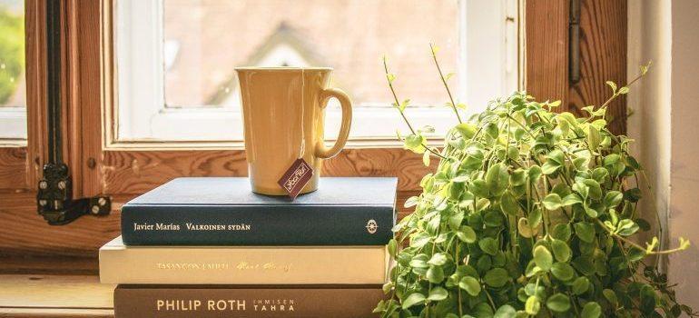 three books, a tea, and a plant