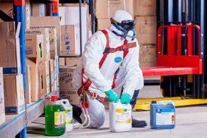 person handling hazardous materials. chemicals
