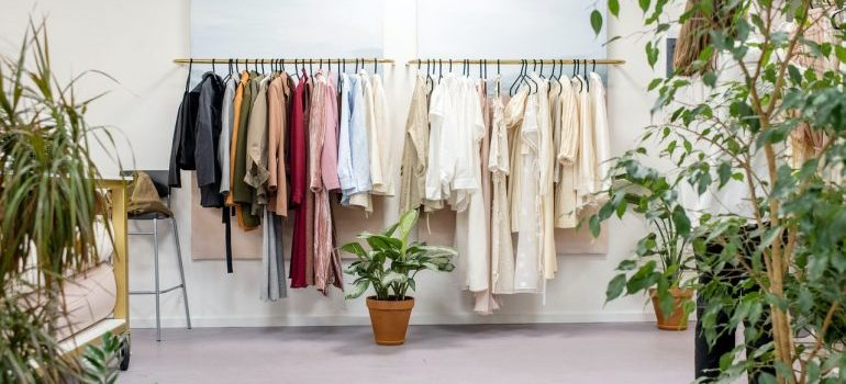 Clothing racks as storage ideas for your New Albany home