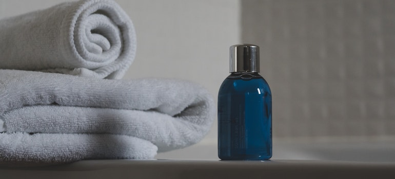 Towels and soap in bathroom