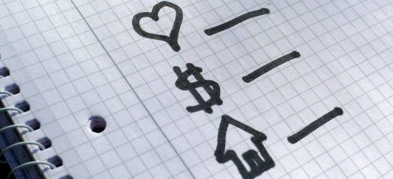 cute check list, hart, money, home drawn on the paper