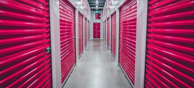 an interior view of a storage unit facility with multiple storage units