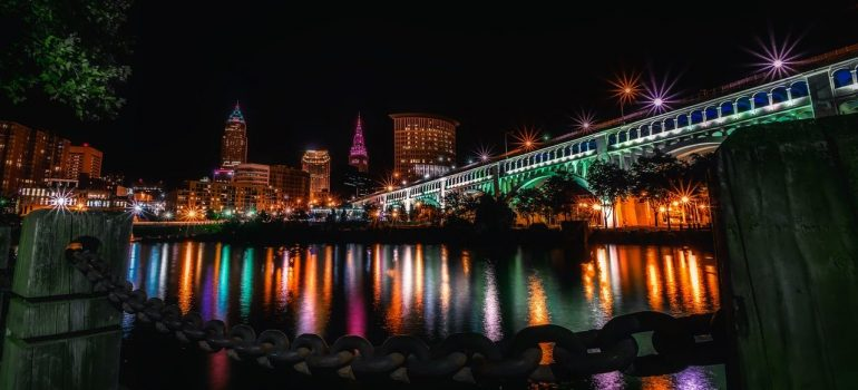 a picture of the city of Columbus during nighttime
