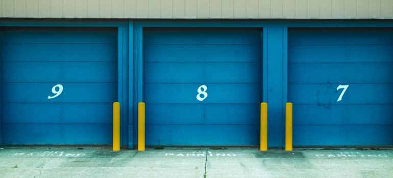 an outdoor view of storage units that have numerals on them as one of the places to store your furniture in Powell